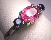 Antique Platinum Ruby Sapphire Wedding Ring Vintage Art Deco 1920-30s
