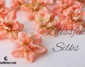 Silk Flowers - 12 Delphinium Blossoms in CORAL PEACH - ALMOST 2.5 Inches - Artificial Flowers