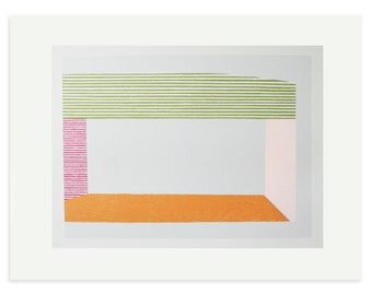 Retro modern art, original geometric large screenprint by Emma Lawrenson in retro sherbet colours. Modern wall decor