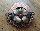 Vintage Pin or Brooch Dogwood Blossom Gold Tone Metal Green Red Copper