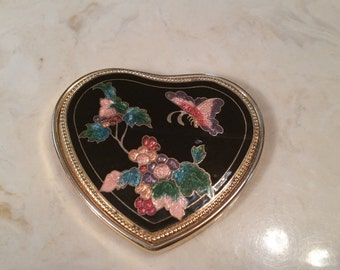 Vintage Gold Trim Cloisonne Heart Shaped Pocket Mirror Flowers Butterfly Black