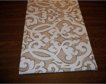brown swirl table runner