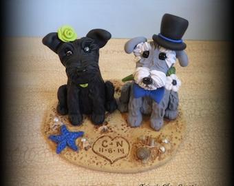 Wedding Cake Topper, Custom Cake Topper, Puppy Cake Topper, Dog, Polymer Clay, Keepsake, Schnauzers, Beach Theme