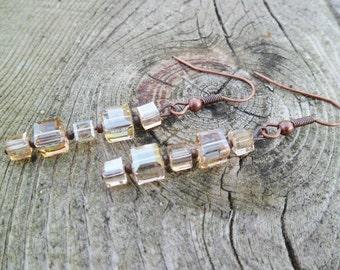 Swarovski Earrings. Cube Swarovski Light Topaz And Aged Copper Dangle Earrings. Glass Dangle Earrings.