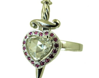 Diamond Heart and Ruby Dagger Ring in 18ct White Gold
