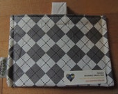 Grey Argyle Eco Friendly Snack Bag by Seweco/Easy Open /Child Friendly Tabs/FOOD SAFE