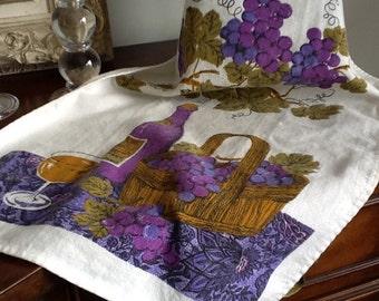 Vintage linen/cotton tea towel wine theme retro theme