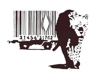 Banksy Print  - Cheetah Black  - Multiple Paper Sizes