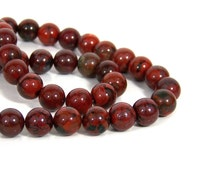 Red Brecciated Jasper beads, 10mm round natural gemstone, full & half strands available   (707S)