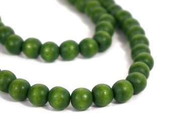 Avocado Green 8mm Wood Beads, eco-friendly wooden beads (796R)