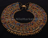 Beautiful Egyptian mummybead cleopatra collar necklace Mega Sale