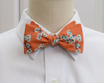 Men's Bow Tie in dark salmon/ginger/terracotta and aqua plum blossom, Japanese print bow tie, wedding bow tie, groom bow tie, groomsmen gift