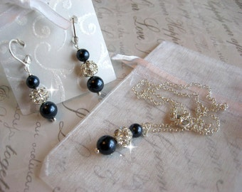 Personalized Bridesmaid Jewelry Set - Swarovski Night Navy Blue Pearl and Rhinestone Necklace and Earring Set - Wedding Jewelry