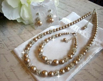 Swarovski Pearl and Rhinestone Bridal Necklace-Bracelet and Earring Set - Bride or Bridesmaid Jewelry Set/ Choose your Color/Wedding jewelry