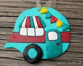 ornament, camper, polymer clay, decoration, teal, red, airstream