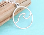Wave Necklace - Sterling Silver - Wave Jewelry - Ocean Necklace - Ocean Jewelry
