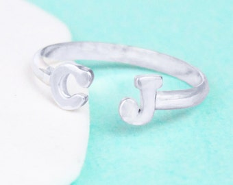 Double Initial Ring - Sterling Silver