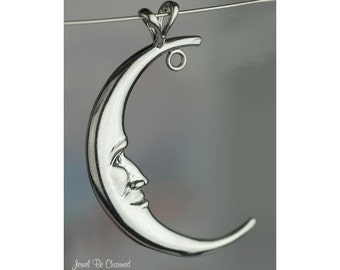 Man in the Moon Pendant Sterling Silver Crescent with Loop Ring