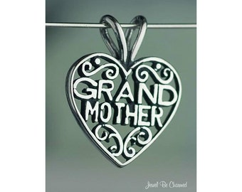 Sterling Silver Grandmother Pendant Filigree Heart Grandma Solid .925