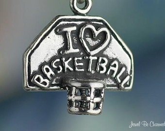 Sterling Silver I Love Basketball Charm Sport Fan Player Solid .925