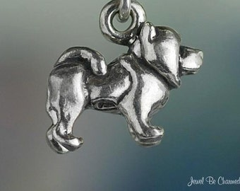 Small Chow Dog Charm Sterling Silver Dog Breed Chows 3D Solid .925