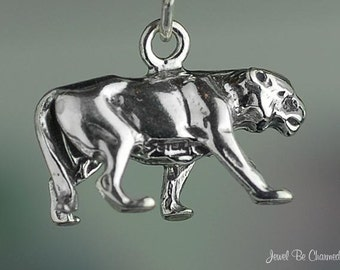 Sterling Silver Panther or Cougar Charm Animal or Mascot 3D Solid .925