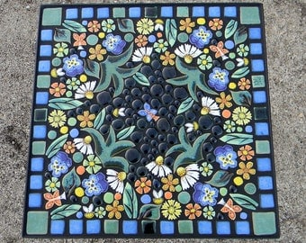 "16"" Square, floral garden mosaic tile table. Handmade ceramic outdoor art tiles."