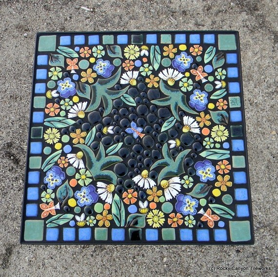 Table Mosaic Patterns: 16 Square Floral Garden Mosaic Tile Table. Handmade