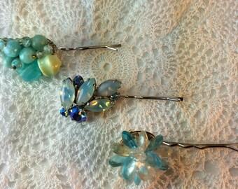 Turquoise Blue Bobby Pins. Wedding. Bridesmaid.