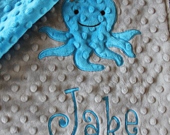 Baby blanket, Personalized blanket, minky blanket, minky baby blanket, Octopus blanket