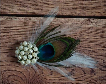 Peacock Hair Pin - Pearl Rhinestone and Peacock Feather Fascinator
