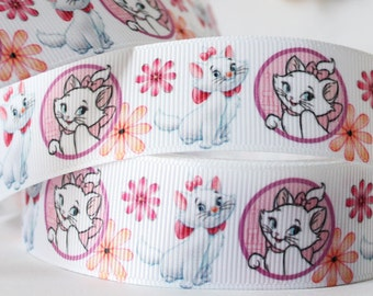 CLEARANCE SALE*FREE Shipping* 3 yards x Grosgrain Disney My Marie Cat 25mm Ribbon Hairbow Ribbon-Sewing-Scrapbpooking