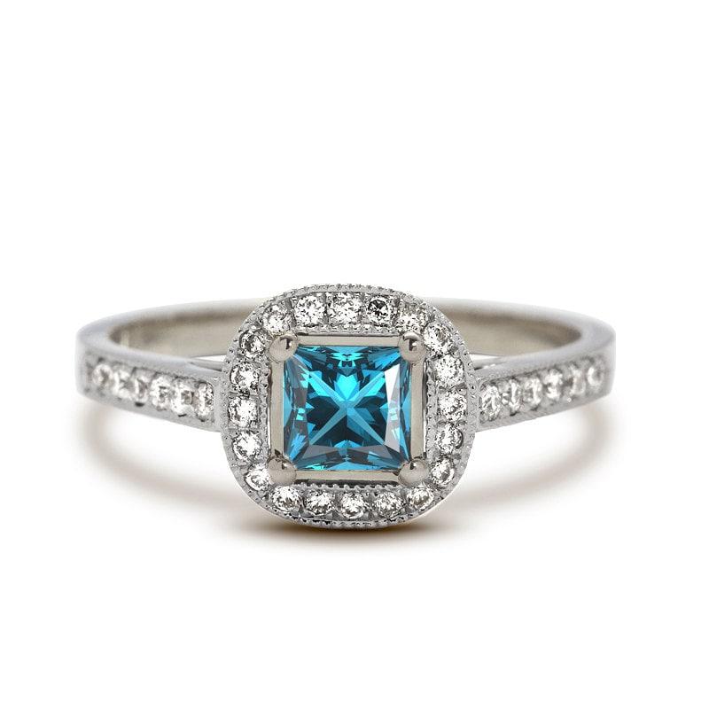 antique princess halo aquamarine engagement ring in 18k white