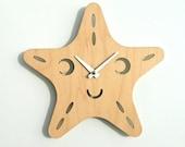Wood Starfish Clock: Wooden Kids Wall Clock Ocean Nursery