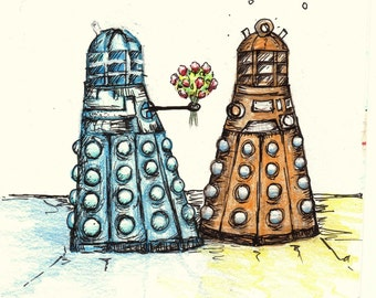 DOCTOR WHO Valentines Day CARDS Original Works Of Art! Hand Signed Prints  Pack Of 2
