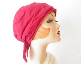 Vintage turban hat/ pink fuchsia velvet