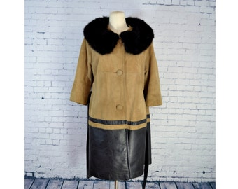 VINTAGE 1960's Suede Coat w/ Fur Collar //  Dark Brown Leather and Tan Suede Coat