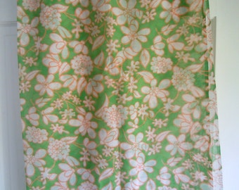Orange and White Vintage Floral Print Fabric on Green Background-Vintage Floral Fabric- 3 Yards