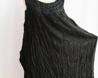 D1, Dark Night Ruffle, Sleeveless, Black Cotton dress