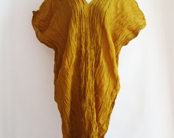 D3, Free Size Free Spirit Yellow Cotton Dress