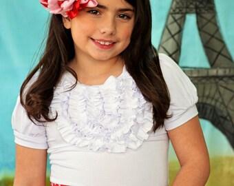 Girl's White ruffled T shirt