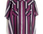 Plains Western Wear - Striped Pearl Snap Short Sleeve Shirt, Sz XL
