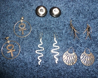 Lot of 6 Pairs of Earrings 70s & 80s Metal/Silver