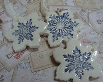 Three Gorgeous Ceramic Snowflake Ornaments