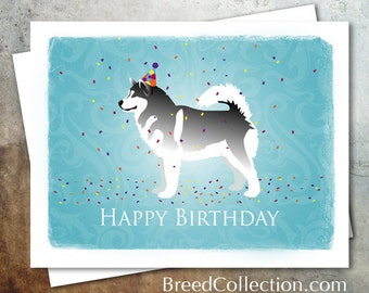Alaskan Malamute Dog Birthday Card from the Breed Collection - Digital Download Printable