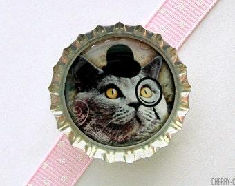 Monocle Cat Bottle Cap Magnet - cat magnets, handmade fridge magnet cat, fridge magnet, cat party favors, funny cat gift, cat art magnets