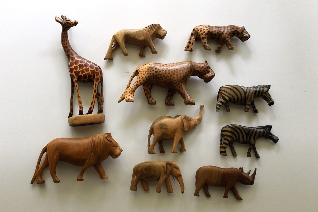 African hand carved wooden animals set of includes