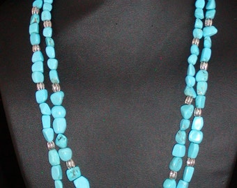 Sleeping Beauty Turquoise and Sterling Silver Double Strand Necklace