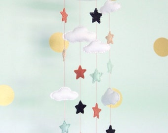 Clouds And Stars Baby Mobile- U Pick Colors