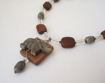 Gemstone Fetish Bear Totem Necklace Bear Spirit Animal Yellow Turquoise Wood Ceramic Glass